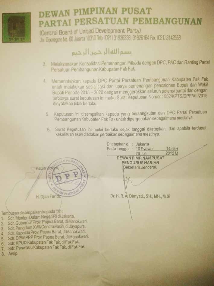 Salah satu SK DPP PPP versi Djan Faridz