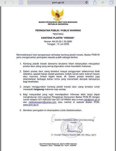 Peringatan Publik BPOM RI tentang kantong plastik