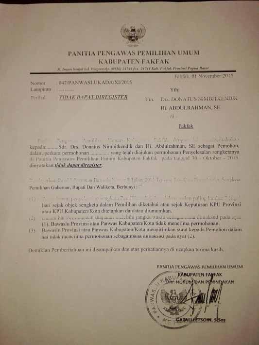 Surat Panwas yang diduga palsu