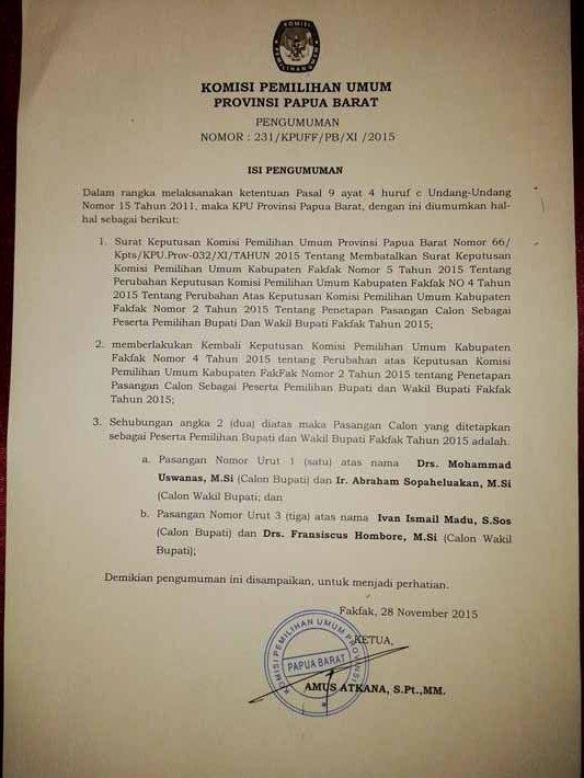 Pengumuman KPU Provinsi Papua Barat (iklan)