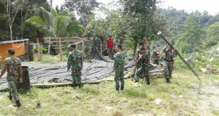 Pembersihan dan pendirian tenda basecamp TMMD