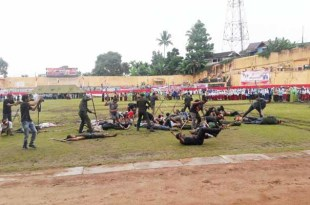 Drama kolosal sejarah Operasi Trikora dimainkan di penghujung upacara bendera HUT RI ke 72