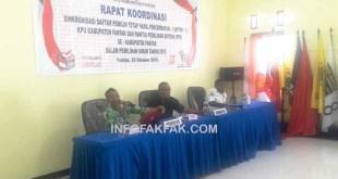 KPU Fakfak menggelar Rapat Koordinasi Singkronisasi Daftar Pemilih Tetap Hasil Pencermatan - 1 (DPTHP-1