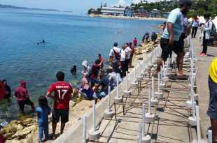 Suasana kegiatan menanam terumbu karang di Pantai Wisata Reklamasi, Fakfak
