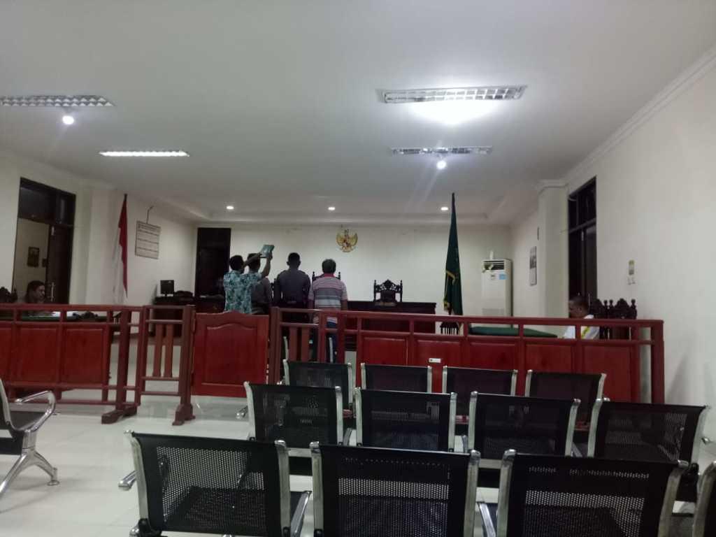 Suasana sidang tipiring miras pada Kamis (31/10) pagi tadi