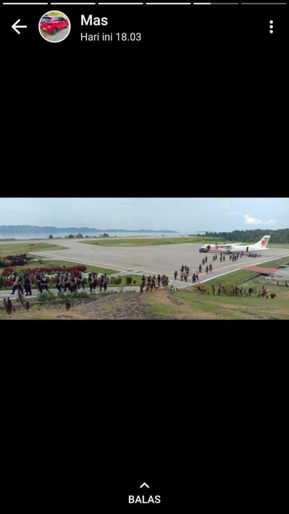 Kedatangan 67 personel Brimob asal Sorong, Selasa pagi tadi