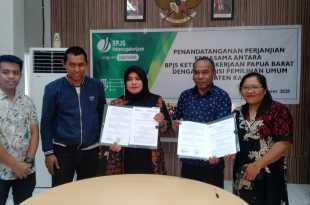 Guna memberikan perlindungan kepada petugas tingkat bawah, KPU Kaimana jalin MoU  jangka waktu tertentu dengan pihak BPJS Ketenagakerjaan Papua Barat (dok IF)
